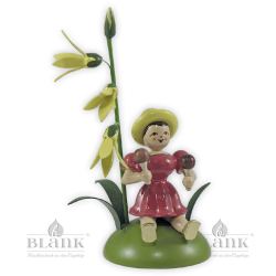 Flower Child with Forsythia and Maracas, sitting