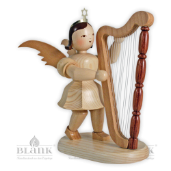 Angel with Short Pleated Skirt and Harp, 20 cm