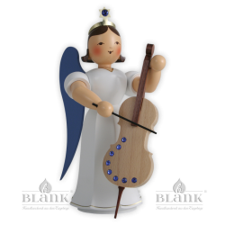 Angel with Long Pleated Robe and Violoncello with SWAROVSKI ELEMENTS®, 20 cm, coloured