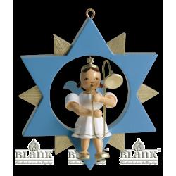 ESF 004 Engel im Stern mit Zugposaune, farbig von Blank Kunsthandwerk, Gruenhainichen