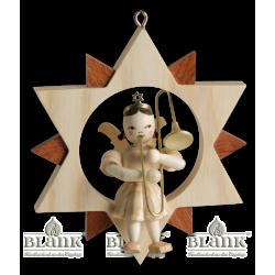 ES 004 Engel im Stern mit Zugposaune von Blank Kunsthandwerk, Gruenhainichen