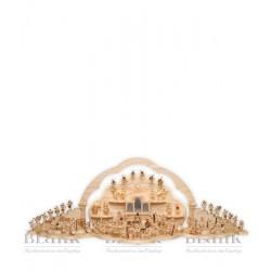 Dekorationsbeispiel komplette Engelwolke mit Seitenteilen, Wolkenrückwand, Engelstufe, Wolkenbogen und Engeln