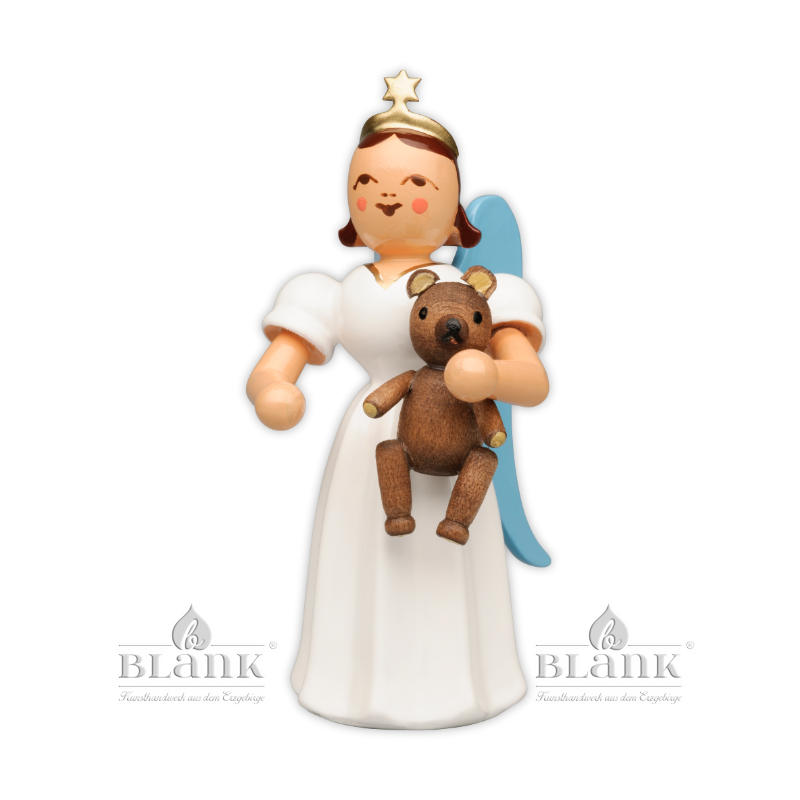 ELF-MF 010 Angel with Long Pleated Robe and Teddy Bear, coloured