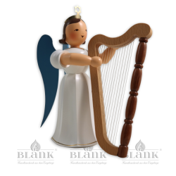 Angel with Long Pleated Robe and Harp, 20 cm, coloured