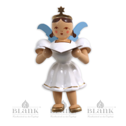 """Sitting angel with short robe """"Singer"""", colored (without stool)"""