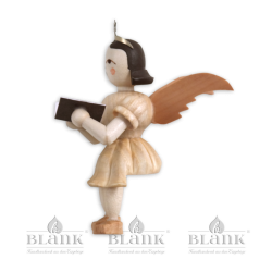 """Sitting angel with short robe """"Singer"""", natural (without stool)"""