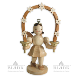 Angel with Short Pleated Skirt and Arch of Stars, 20 cm, electric
