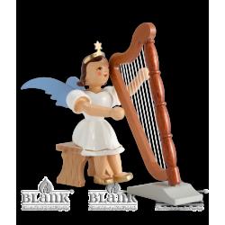 EKF 038 Kurzrockengel mit Harfe, sitzend, farbig von Blank Kunsthandwerk, Gruenhainichen