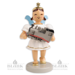 EKF-MF 011 Angel with Short Pleated Skirt and Model Train, coloured