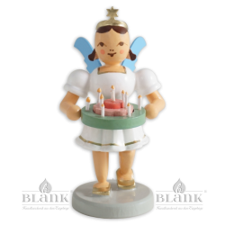 EKF 084 Angel with Short Pleated Skirt and Holiday Wreath, coloured