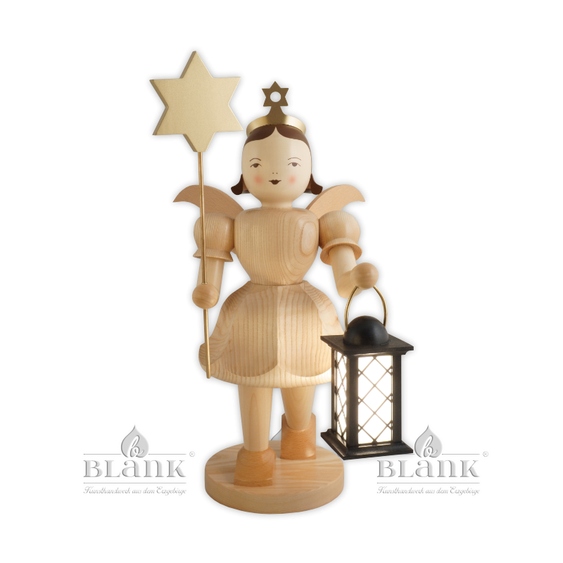 EKG 047 E Angel with Short Pleated Skirt and Lantern/Star, electric, 50 cm
