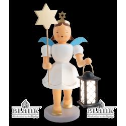 EKFG 047 E Angel with Short Pleated Skirt and Lantern/Star, electric, 50 cm, coloured