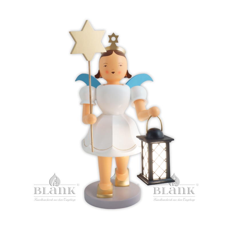 EKFG 047 E Angel with Short Pleated Skirt and Lantern/Star, electric, 50 cm, coloured