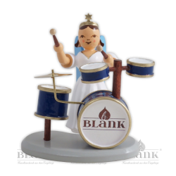ELF 082 Angel with Long Pleated Robe and Drums, coloured