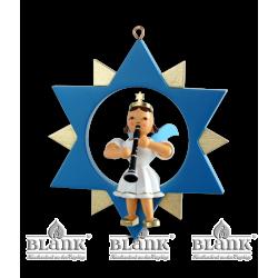 ESF 026 Engel im Stern mit Klarinette, farbig von Blank Kunsthandwerk, Gruenhainichen