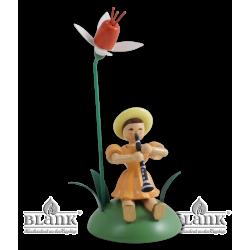 BKS 011 Blumenkind mit Fuchsie und Klarinette, sitzend von Blank Kunsthandwerk, Gruenhainichen