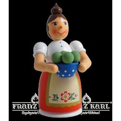 1191 Rauchfrau mit Schürze und Klößen, farbig von Blank Kunsthandwerk, Gruenhainichen