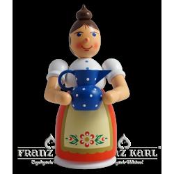 1192 Rauchfrau mit Schürze und Krug, farbig von Blank Kunsthandwerk, Gruenhainichen