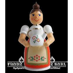 1193 Rauchfrau mit Schürze und Kanne, farbig von Blank Kunsthandwerk, Gruenhainichen
