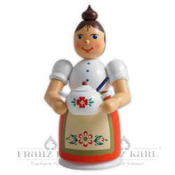 Incense smoking woman with apron and terrine