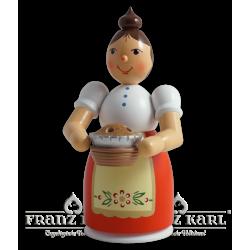 1195 Rauchfrau mit Schürze und Kuchen, farbig von Blank Kunsthandwerk, Gruenhainichen
