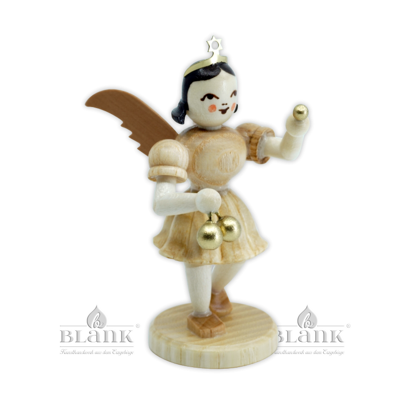 EK-M 006 Angel with Short Pleated Skirt and Christmas Ornaments