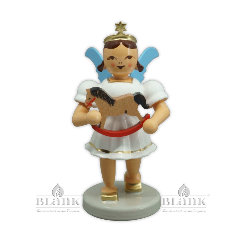 EKF-MF 008 Angel with Short Pleated Skirt and Rocking Horse, coloured