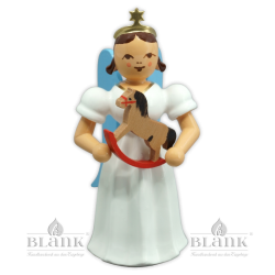 ELF-MF 008 Angel with Long Pleated Robe and Rocking Horse, coloured