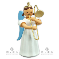ELF 004 Angel with Long Pleated Robe and Slide Trombone, coloured