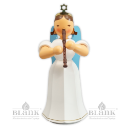 ELFM 046 Angel with Long Pleated Robe and Recorder, 22 cm, coloured