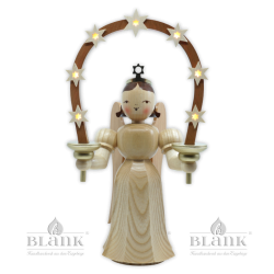 ELM 036 E Angel with Long Pleated Robe and Arch of Stars, 28 cm, electric