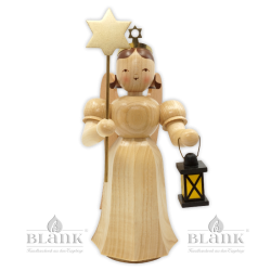 ELM 047 Angel with Long Pleated Robe with Lantern / Star, 23 cm