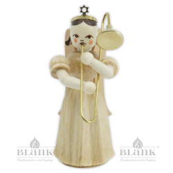 ELN 004 Angel with Long Pleated Robe and Slide Trombone