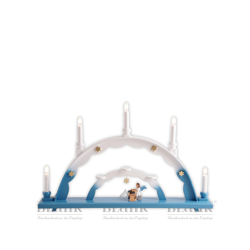 LEF 040 Schwibbogen mit Engel an der Zither, farbig