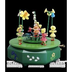 SPF 004 Spieldose mit 5 Blumenkindern, farbig von Blank Kunsthandwerk, Gruenhainichen