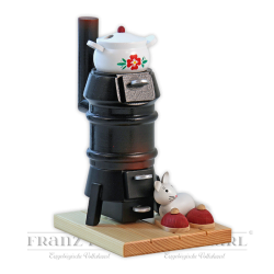 1403 Incense smoking stove, black with cat