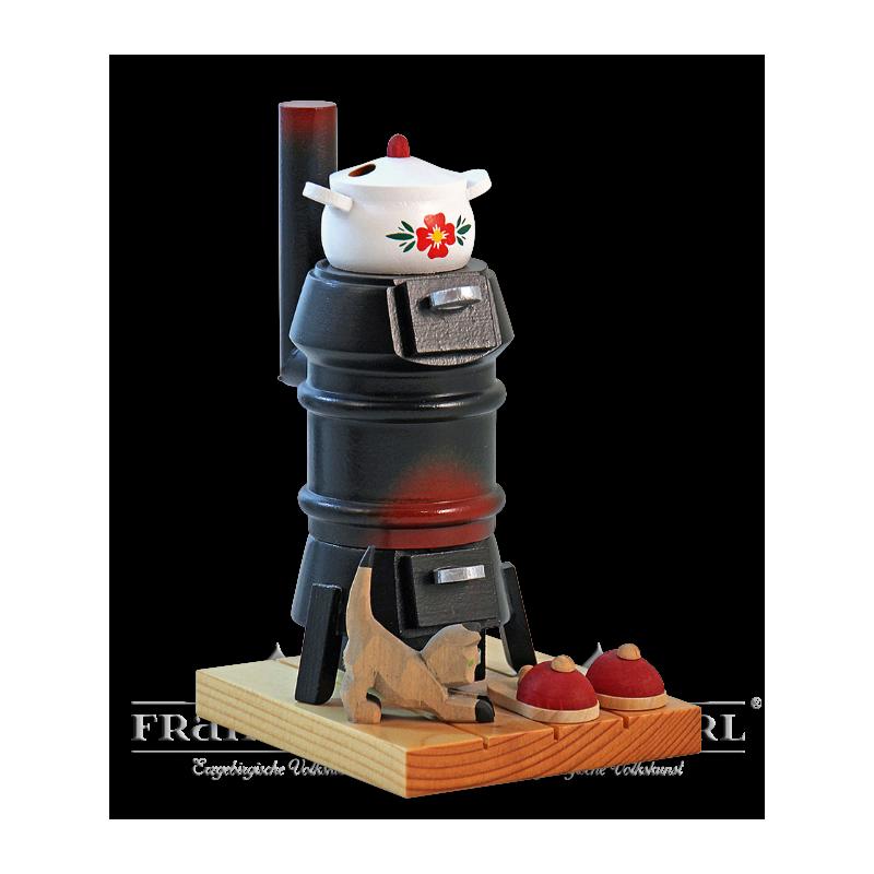 1406 Rauchofen, schwarz mit geschnitzter Katze