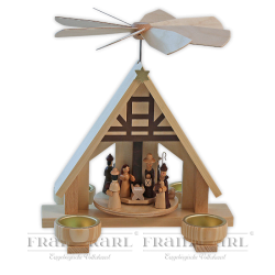 """2400T Pyramide """"Christi-Geburt"""" mit Teelichthaltern"""