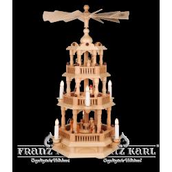 2660 E Pyramide mit Barockzaun, 3 Etagen, elektrisch von Blank Kunsthandwerk, Gruenhainichen