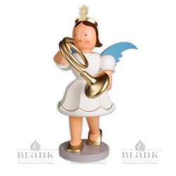 EKFG 015 Angel with Short Pleated Skirt and French Horn, 50 cm, coloured