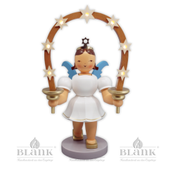 EKFM 036 E Angel with Short Pleated Skirt and Arch of Stars, 20 cm, electric, coloured