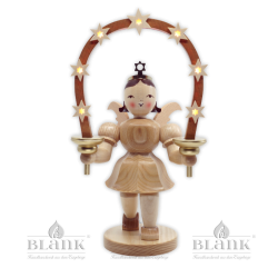 EKM 036 E Angel with Short Pleated Skirt and Arch of Stars, 20 cm, electric