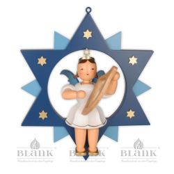 ESFM 007 Angel in a Star with Lyre, 30 cm, coloured