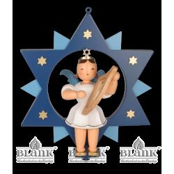 ESFM 007 Engel im Stern mit Leier, 30 cm, farbig von Blank Kunsthandwerk, Gruenhainichen