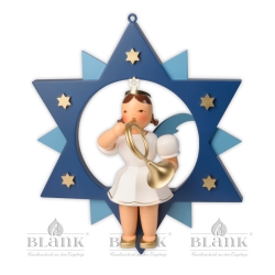 ESFM 015 Angel in a Star with French Horn, 30 cm, coloured