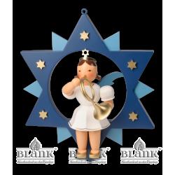 ESFM 015 Engel im Stern mit Waldhorn, 30 cm, farbig von Blank Kunsthandwerk, Gruenhainichen