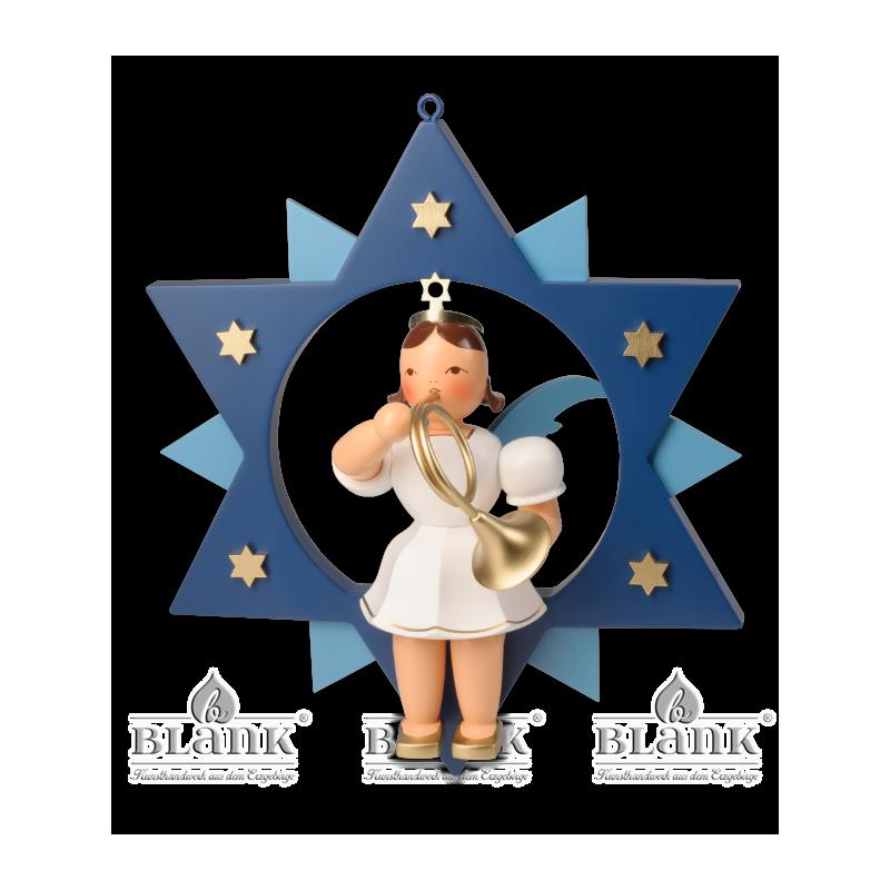 ESFM 015 Engel im Stern mit Waldhorn, 30 cm, farbig