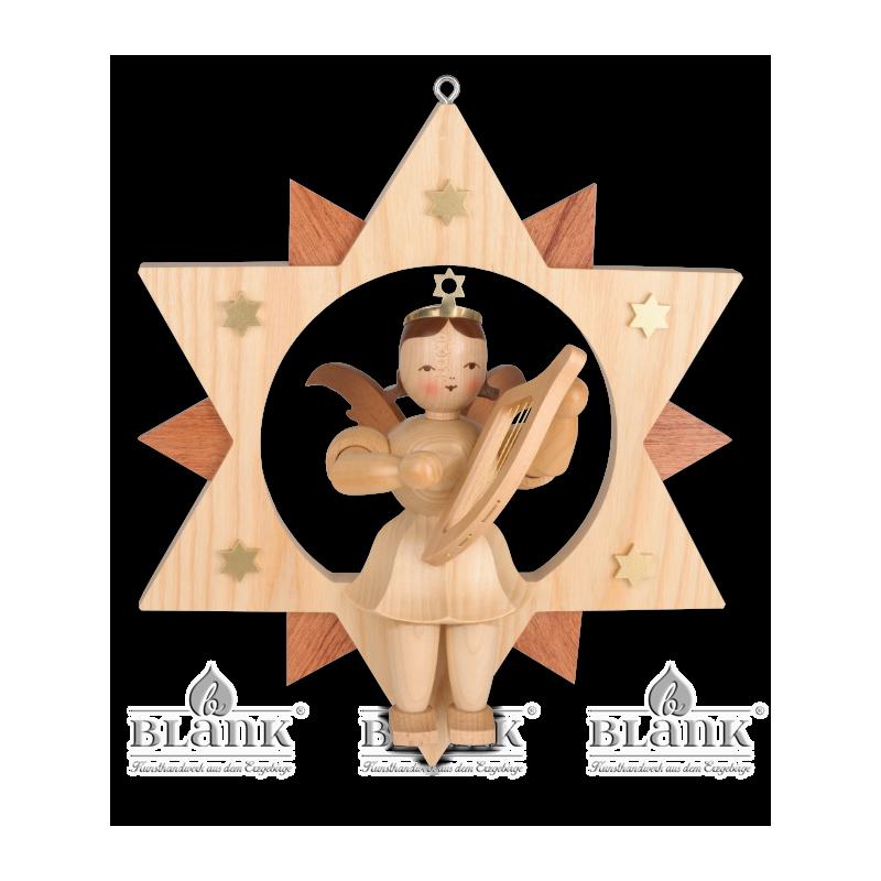 ESM 007 Engel im Stern mit Leier, 28 cm
