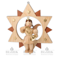 ESM 015 Angel in a Star with French Horn, 30 cm