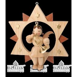 ESM 015 Engel im Stern mit Waldhorn, 30 cm von Blank Kunsthandwerk, Gruenhainichen